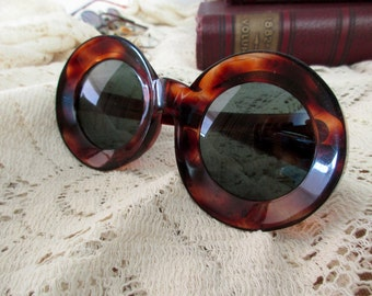 60s large round tortoise shell sunglasses - made in France