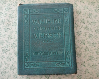 1920s tiny book - Vampire and Other Verses, Rudyard Kipling, green bound, Little Leather Library, antique book