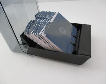 vintage desk organizer-  Rolodex, black, plastic, petite, holds business cards