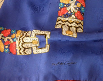 Cartier vintage blue silk scarf-hand rolled, Paris, jewels, FREE SHIPPING
