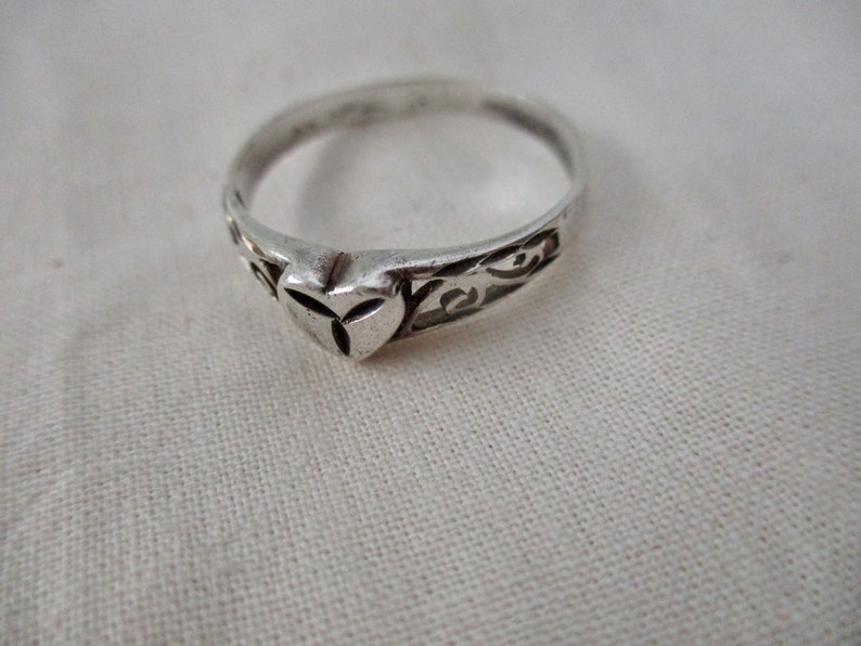 vintage sterling silver ring size 8.25 filigree heart