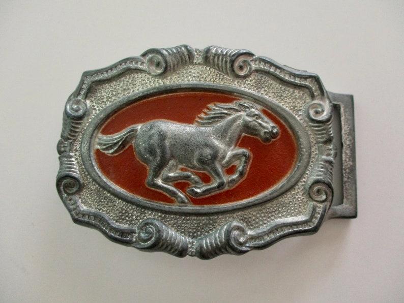 western cowboy belt buckle silver and brown embossed horse vintage