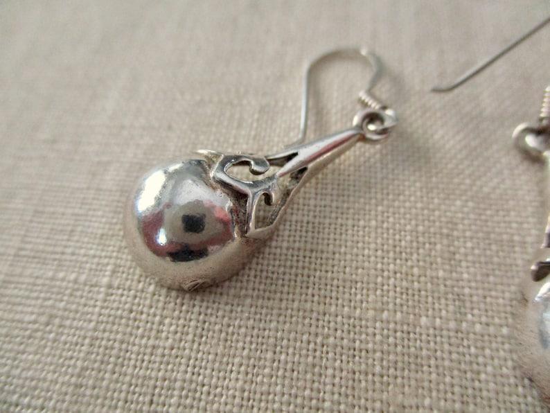 dangle 925 vintage sterling silver earrings tear drop pierced