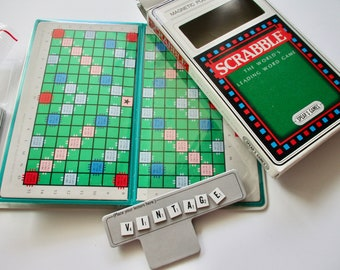 vintage Magnetic Pocket Edition Scrabble Game with plastic tiles, Spear's Games, travel game