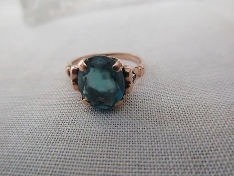 vintage 10K gold ring heart aquamarine blue stone size 5