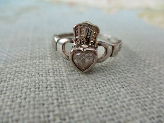 Irish vintage sterling Claddagh Ring with crystal love Ireland size 6