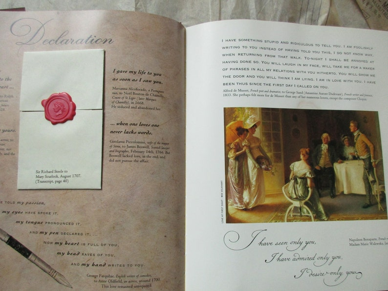 Love Letters An Anthology of Passion by Michael Lovric, antique letters,  quotations, sealing wax, vintage hardcover book