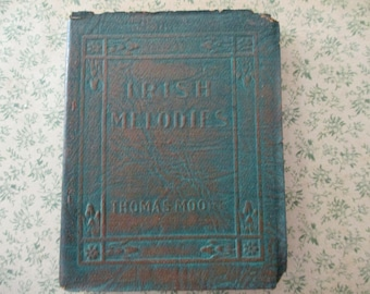 1920s tiny book - Irish Melodies, Sir Thomas Moore, green bound, Little Leather Library, antique