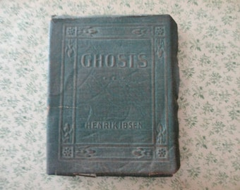 1920s tiny book - Ghosts, Henrik Ibsen, green bound, Miniature Library, antique