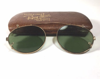 3569916190 Vintage Bausch   Lomb Ray Ban Clip On Sunglasses in original case