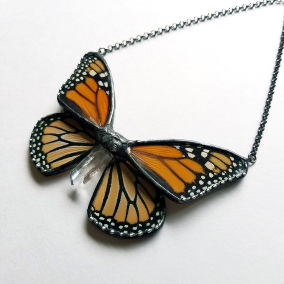 Monarch Butterfly Jewelry / Butterfly Necklace / Blue butterflyNecklace