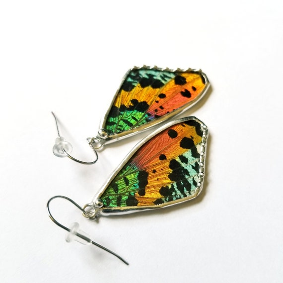 Butterfly earrings / Sunset Moth / Butterfly Earrings / Bright / Rainbow Jewelry