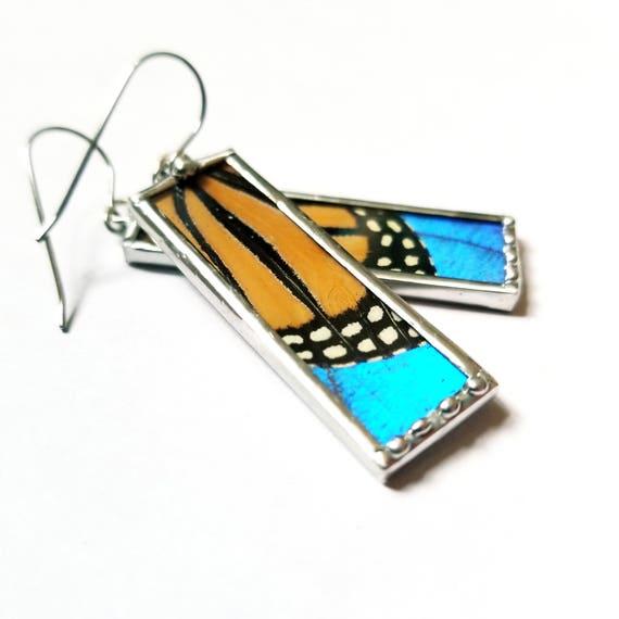 Real Monarch- Blue Morpho Butterfly Wing Earrings