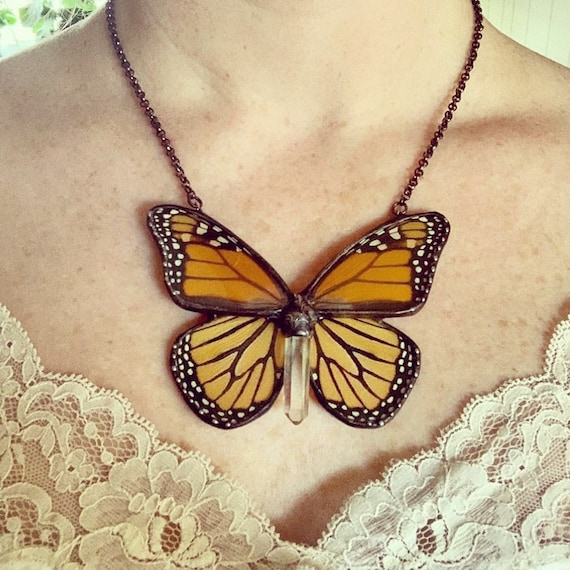 Monarch Butterfly Jewelry / Burnt Orange /Butterfly Necklace