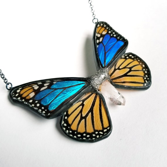 Butterfly Wing Jewelry / Real Monarch Blue Morpho Butterfly Pendant