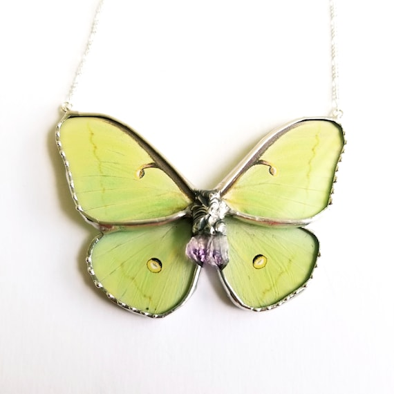 Luna Moth / Jewelry / Luna Necklace / Blue butterflyNecklace