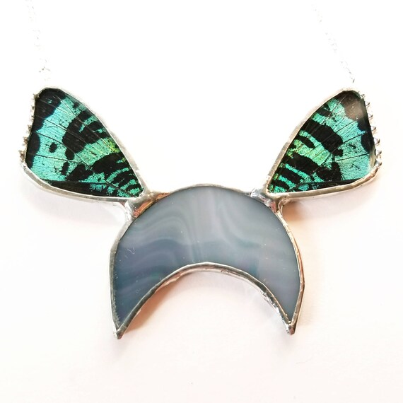 Crescent Moon / Real Butterfly / Butterfly Necklace / Butterfly Jewelry / Quartz