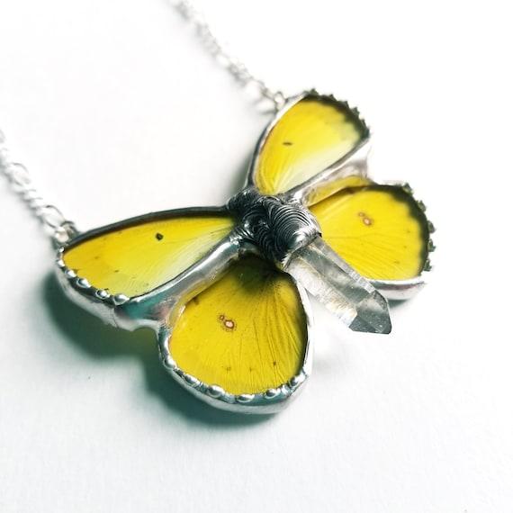 Yellow Sulphur Butterfly / Butterfly Jewelry / Butterfly Necklace