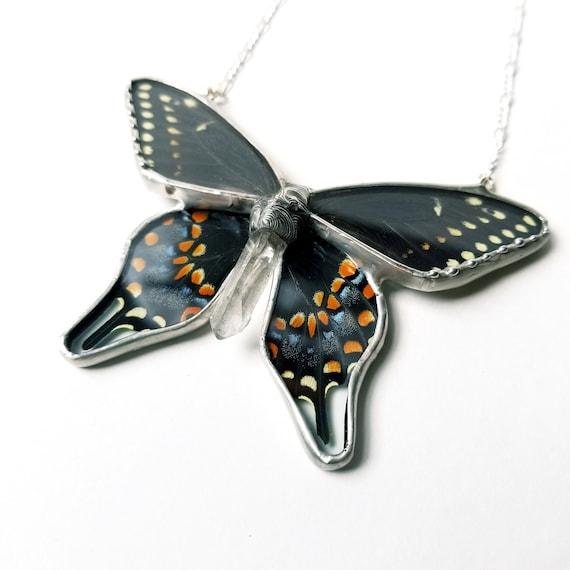 Black Swallowtail Butterfly / Butterfly Jewelry / Butterfly Necklace