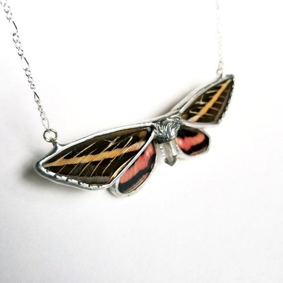 Hummingbird moth / Crystal Jewelry / Butterfly / Real Butterfly / Crystal Necklace / Butterfly Jewelry / Quartz