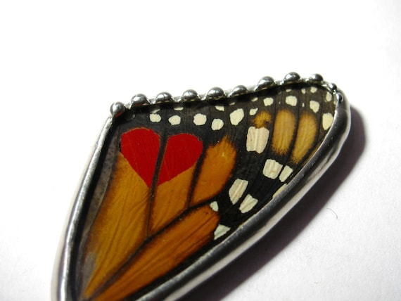 Butterfly Jewelry / Heart Jewelry - Monarch Butterfly -  Heart Pendant - Butterfly Wing