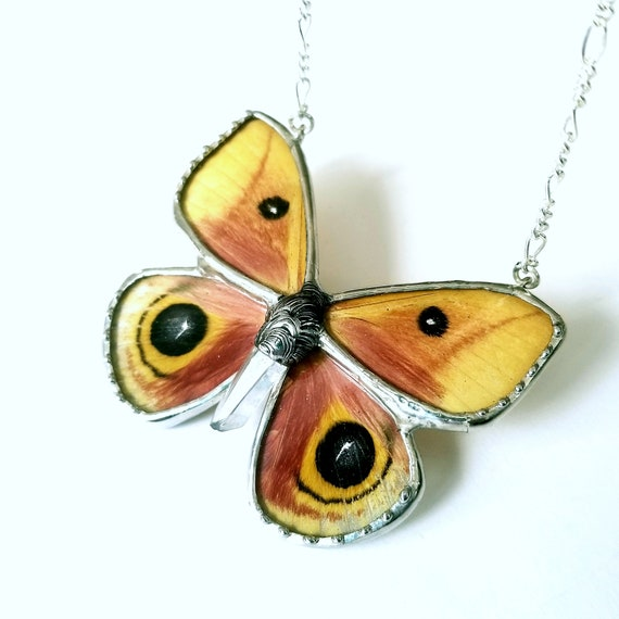 Io moth / Butterfly Jewelry / Butterfly Necklace / Pink GlassWing Necklace