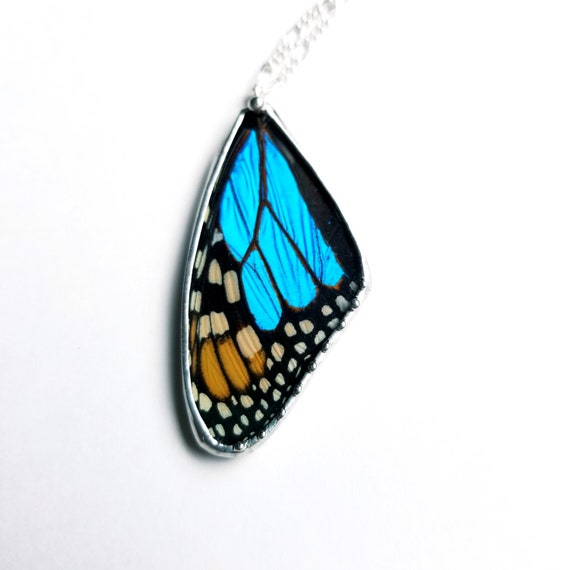 Monarch Butterfly Pendant with Blue Morpho accent
