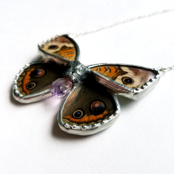 Buckeye Butterfly Jewelry / Butterfly Necklace / Pink GlassWing Necklace