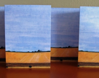 note card set : Amber Field - 4 blank California landscape note cards