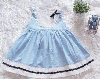 Bright Blue Sky with Lace Dress - Everyday Dress - Toddler Dress - Girls Dress - Toddler Twirl Dress - Baby Dress - Play Dress