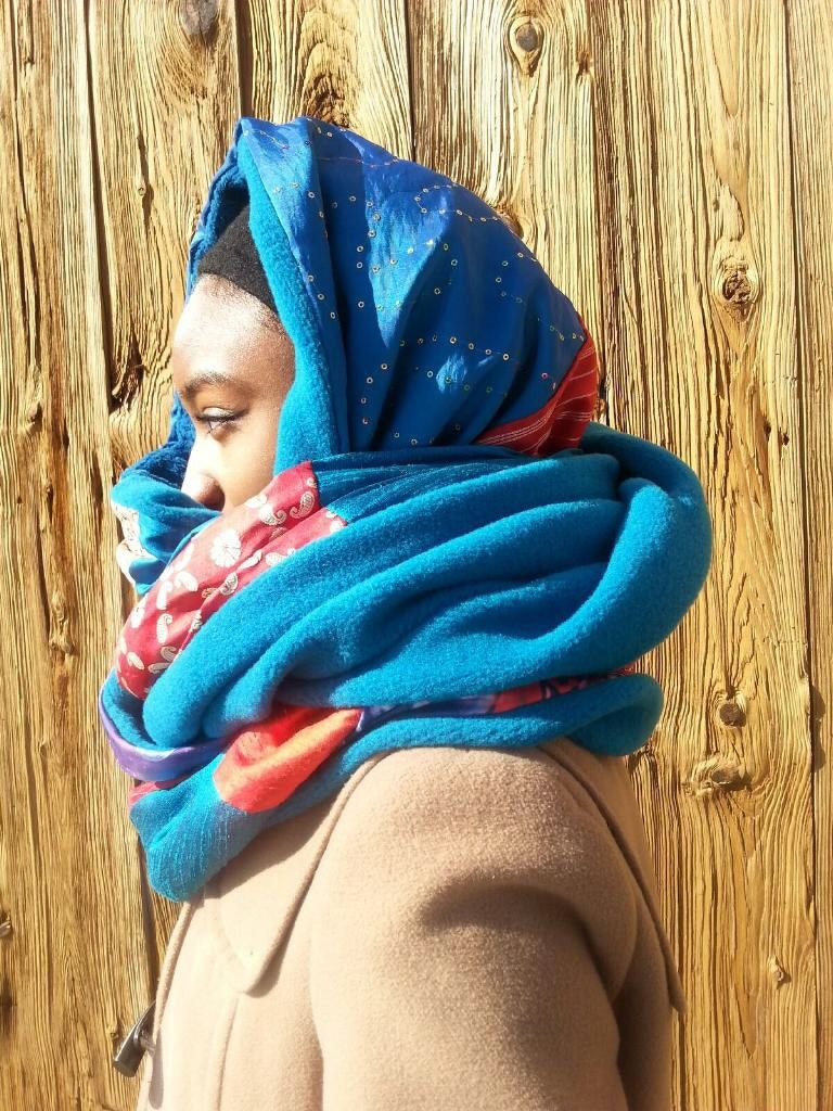 Teal Red Luxury Amafinity Circle Scarf