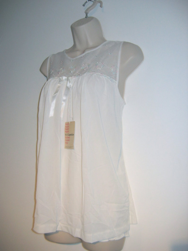 all Nylon Nightie White Baby Doll Lolita Mad Men Size Small Mod 60/'s Babydoll /& PANTY Vintage Nightgown
