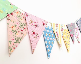 Shabby Chic Fabric Banners, Bunting, Garland, Wedding Bunting,  Flags - 3 yards (11th version)