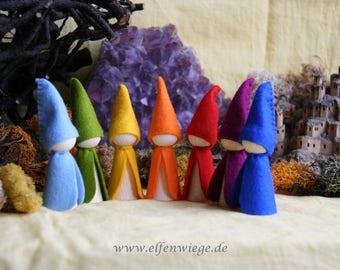 7 XL dwarfs rainbow Set / Waldorf Inspired natural Table doll