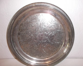 Vintage English Silver Plated Small Serving Tray Round Ornate Art Nouveau Engraved Embellished Tray