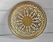 Antique Ornate Brass Metal Trivet or Pot Stand