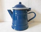 Vintage Enamel Blue Coffee Tea Hot Chocolate Pot