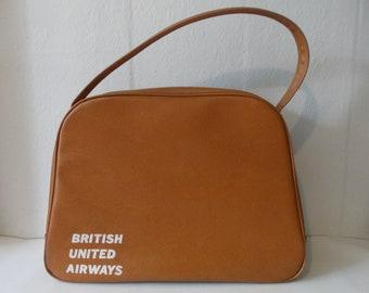 ed3014de69 British United Airways Vintage Leather Crew Travel Bag Retro Pilots Flight  Case