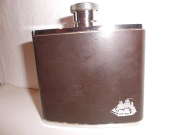 Vintage English Nautical Flask Leather Wrapped Pocket Hip Flask