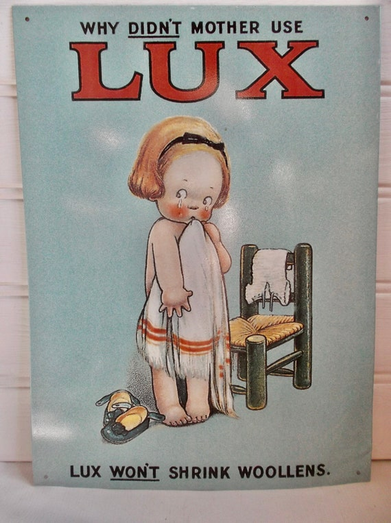 Lux Won/'t Shrink Wool Shepard VINTAGE ENAMEL METAL TIN SIGN WALL PLAQUE