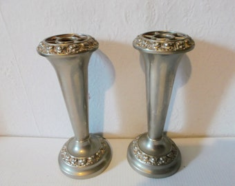 Pair of Antique Victorian Edwardian Silver Plated Ianthe Hat Pin Holder Posy Vase