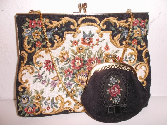 Floral Tapestry Petit Point Handbag with Coin Purs