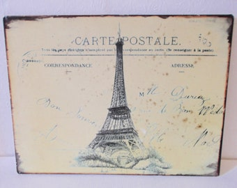Vintage French Metal Sign Eiffel Tower Carte Postale Souvenir Sign