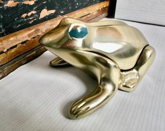 Vintage Brass Frog Vesta, Ashtray Tobacciana Collectible or Secret Box