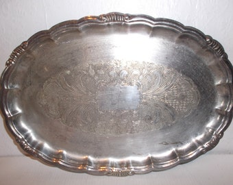 Antique English Silver Plated Serving Tray Victorian Ornate Engraved Embellished Platter Circa 1836