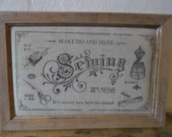 Vintage English Make Do And Mend Sewing Sign
