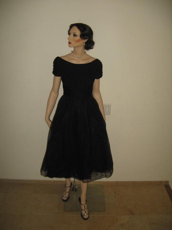 1950's EMMA DOMB Black chiffon Party Dress.
