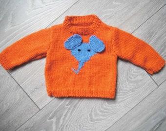 Gender Neutral Baby Clothing Handmade New Vibrant Orange Unisex Knitted Pullover Children/'s Sweater Toddler Knit Sweater