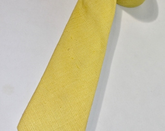 "vintage 70's - 80's -J. Press- neck tie.  'The Burlington Knot'  -Moygashel Irish Linen - Lemon Yellow.  Modern narrow 3"" wide."