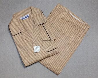 vintage 1960's -Fruit of the Loom- Men's pajamas. 'New Old Stock'. Funky atomic print - Orange & Brown. Large